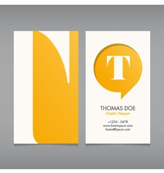 Business card template letter t vector