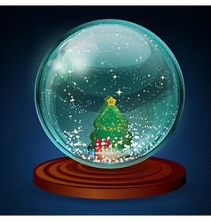 snow ball with christmas tree vector image