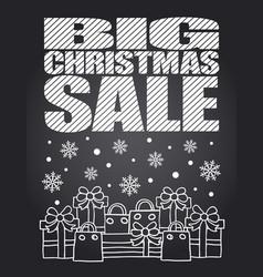 big christmas sale chalkboard card vector image