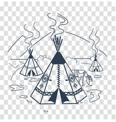 Silhouette of life indigenous people vector