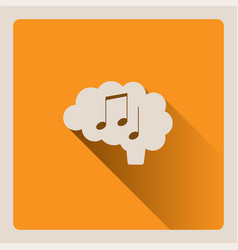 Brain thinking in music on yellow background with vector