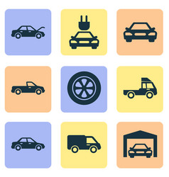 Auto icons set collection of plug wheel vector