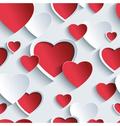 Valentines day seamless pattern with 3d heart vector