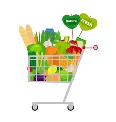 Shopping cart with food vector