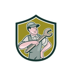 Mechanic pointing spanner wrench shield cartoon vector