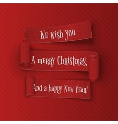 Merry Christmas and happy New Year Ribbons Set vector image