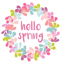 Hello spring pink watercolor wreath card vector