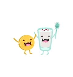 Yoghurt and biscuit cartoon friends vector