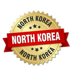 North korea round golden badge with red ribbon vector