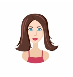 Girl long haircut icon cartoon style vector