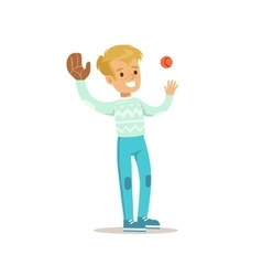 Boy playing baseball traditional male kid role vector