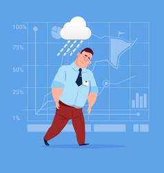 Business man wet under rain big problem failure vector