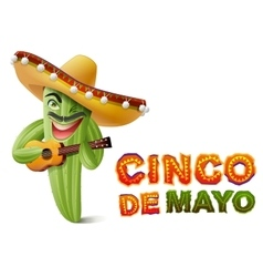 Cinco de Mayo Mexican cactus in sombrero playing vector image