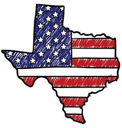 Doodle americana flag texas overlay vector