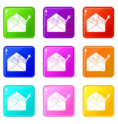 envellope with graph icons 9 set vector image vector image