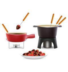 fondue icon set realistic vector image