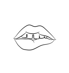 Girls open mouth with lips biting womans teeth vector