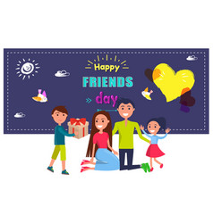 happy friends day poster with celebrating family vector image vector image
