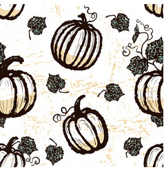 ink hand drawn seamless pattern with pumpkins vector image
