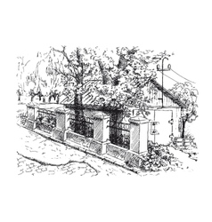 Landscape with garage and old stone fence vector