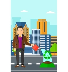 Man watering tree with recycle sign instead of vector image