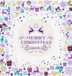 Merry christmas happy new year reindeer label card vector image vector image