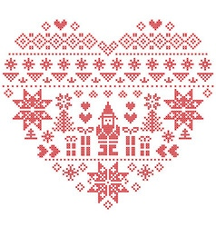 Nordic pattern in hearts shape with Santa on white vector image vector image