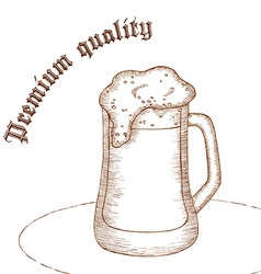 Pencil hand drawn of beer glass with label premium vector