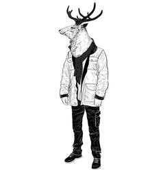 Portrait of a hipster deer vector