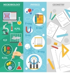 Science 3 flat banner set vector