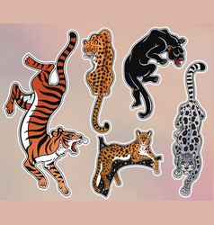 Set of wild cat flash tattoo patches or elements vector