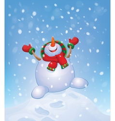 snowman jump vector image vector image