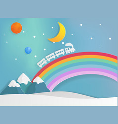 train of dream on rainbow railway vector image vector image