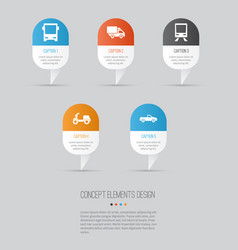 Transport icons set collection of skooter vector