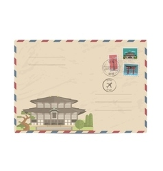 Vintage postal envelope with Japan stamps vector image vector image