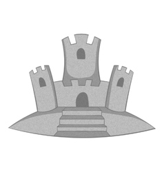 Sand castle icon gray monochrome style vector