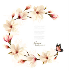 nature background with blossom branch of white vector image