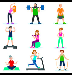 Workout people set vector