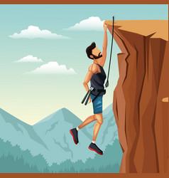 Scene landscape man hanging on the cliff rock vector