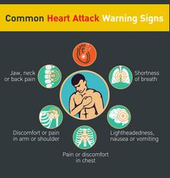 Common heart attack warning signs design vector
