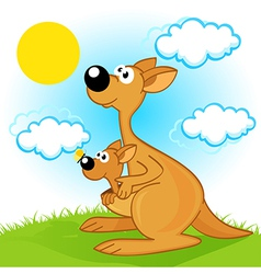 Mother kangaroo with baby vector