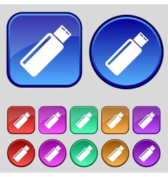Usb sign icon flash drive stick symbol set vector