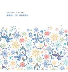Cute snowmen horizontal frame seamless pattern vector