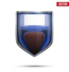 Bright shield in the boxing helmet inside vector