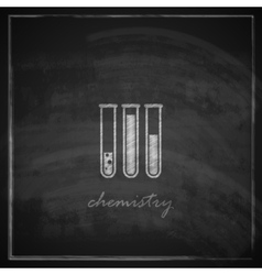 With laboratory equipment icon on blackboard vector