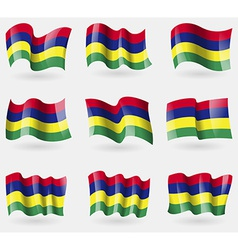 Set of mauritius flags in the air vector