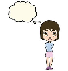 cartoon shy girl with thought bubble vector image