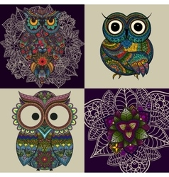 Set from of ornamental owls vector