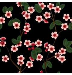 Seamless pattern with pink cherry flowers and leaf vector
