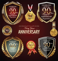 90 years anniversary labels vector image vector image